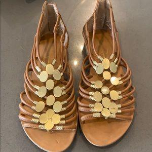 Zip back gold sandals